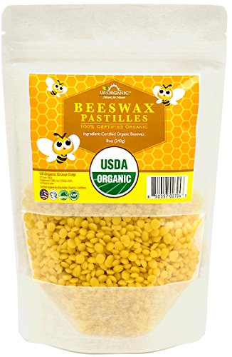 US Organic Beeswax 100% Pure Yellow Pastilles, USDA Certified, 8 Ounce Medium Pack