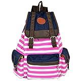 Rbenxia Canvas Backpack School Bag Stripe School College Bag Unisex