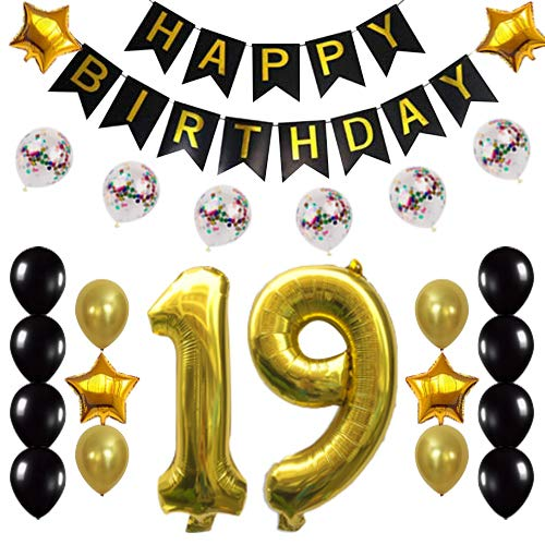 Gold 19th Birthday Decorations Party Supplies Happy 19th Birthday Confetti Balloons Banner and Number Sets for 19 Years Old Party 26 PCS]()