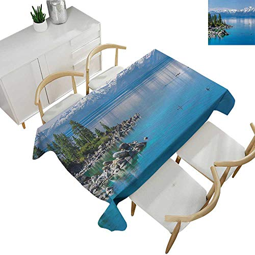 blecloths Blue Waters of Lake Tahoe Snowy Mountains Pine Trees Rocks Relax Shore Polyester Washable Table Cover Light Blue Green Grey 50