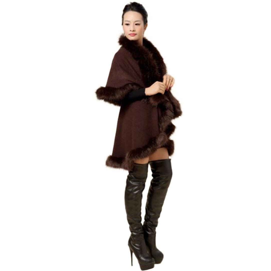 Gillberry Women's Faux Fur Collar Poncho Cape Stole Wrap Hoody Sweater Coat (Free Size, Brown)
