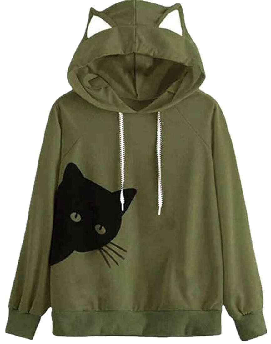 13a1d67f6e X-Future Women Cat Print Baggy Fashion Drawstring Long Sleeve Pullover  Hooded Sweatshirt at Amazon Women s Clothing store