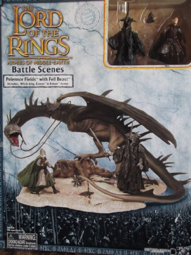 2004 - New Line / Play Along - Lord of the Rings : Armies of Middle-Earth - Battle Scenes - Pelennor Fields with Fell Beast Set - RARE - with Witch-King & Eowyn in Rohan Armor Figures - Mint - Out of Production - Limited Edition - Collectible - Battle Scene