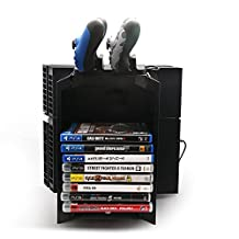 PS4 Multifunctional Game Disk Storage Tower Holder with Controller dual usb Charging Dock and Console Stand Holder for Sony Playstation 4 PS4,Blu-Ray films Storage