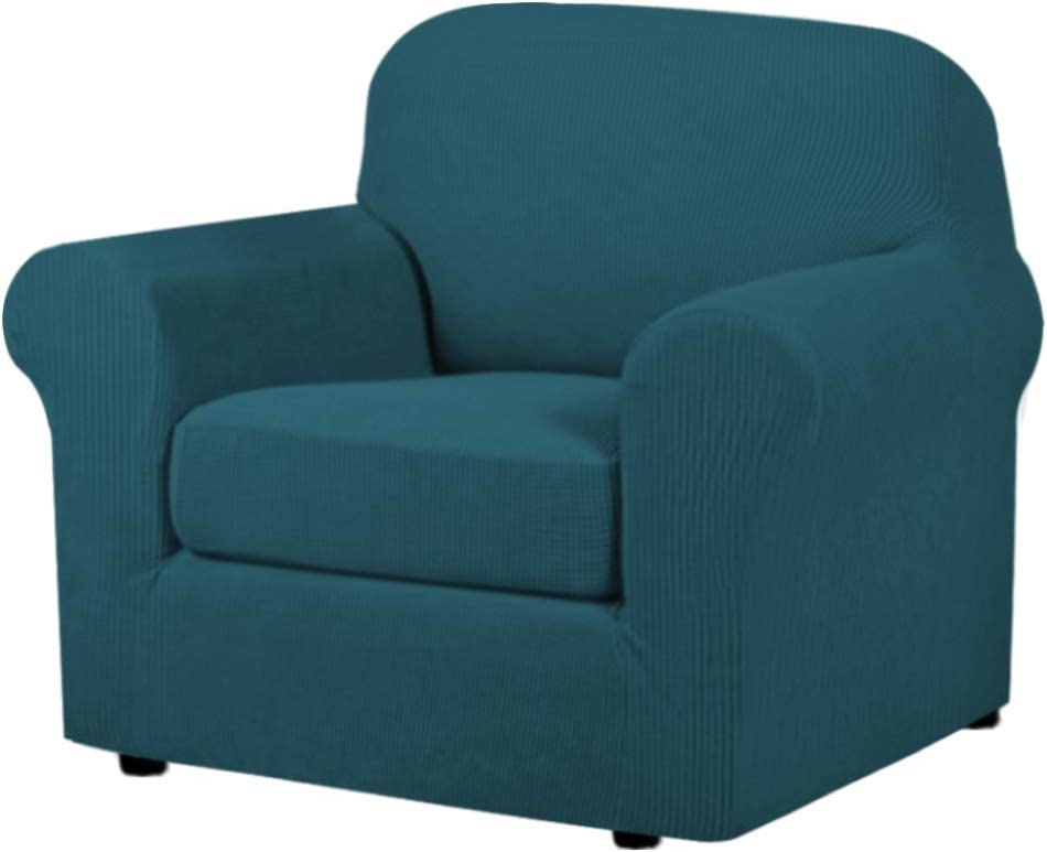 H.VERSAILTEX 2-Pieces Armchair Cover Chair Slipcovers with Arms Furniture Protector Cover Fit Armchair Width Up to 48 Inch, Jacquard Spandex Couch Covers Armchair Slipcover - Deep Teal, Chair