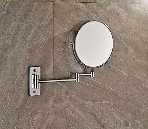 Bathroom Supplies Toilet-Bathroom Enhancements Folding Double-Sided Rounds Making Magnifying Mirror Bathroom Wall Home Shaving Mirror Chrome Finish (color   -, Size   -)