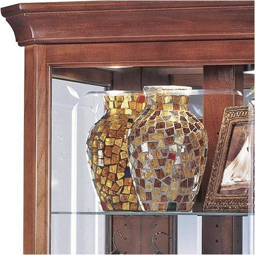 Howard Miller Lynwood Corner Curio Cabinet 680-345 Windsor Cherry Glass Case with Light