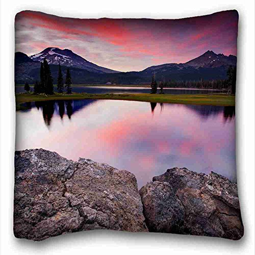 (Custom Cotton & Polyester Soft ( Nature lake sunset stones sky ) Zippered Body Pillow Case Cover Size 16