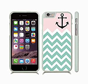 iStar Cases? iPhone 6 Case with Chevron Pink/ White/ Mint Pattern Strip Black Anchor , Snap-on Cover, Hard Carrying Case (White)
