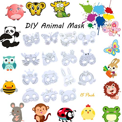 LtrottedJ 15pcs Children DIY Paper Animal Craft Mask Party Cosplay Toy Mask for -