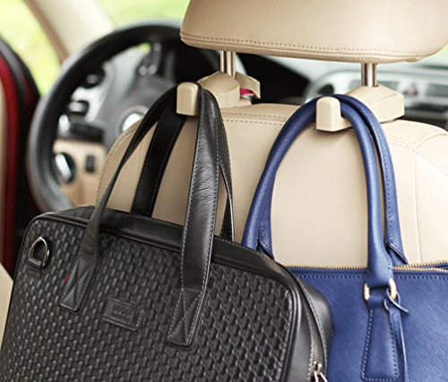 (2pcs Universal Auto Car Back Seat Headrest Hanger Holder Hooks Clips for Bag Purse Cloth Grocery Automobile Interior Accessories 3 Colors)