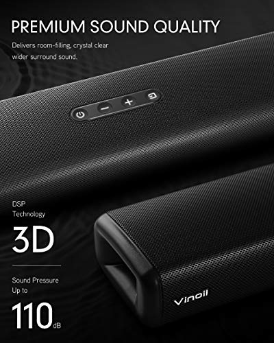 Sound Bar, Sound Bar for TV, Vinoil Soundbar with Built-in Subwoofer, Wired & Wireless Bluetooth Speaker for TV, Optical/AUX/Coaxial Input, Wall Mountable, Surround Sound System for TV & Home Theater