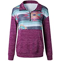 Artfish Women's Casual Floral Printed Geometric Long Sleeve 1/4 Zip Patchwork Pullover Tops Sweatshirts with Pocket