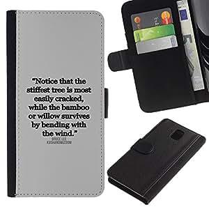 WonderWall Fondo De Pantalla Imagen Diseño Cuero Voltear Ranura Tarjeta Funda Carcasa Cover Skin Case Tapa Para Samsung Galaxy Note 3 III N9000 N9002 N9005 - cita inspiradora carta texto verdad