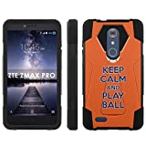 zte zmax phone cases new york - ZTE [ZMAX PRO] [Carry Z981] Phone Cover, Keep Calm and Play Ball - New York - Black Hexo Hybrid Armor Phone Case for ZTE [ZMAX PRO] [Carry Z981]