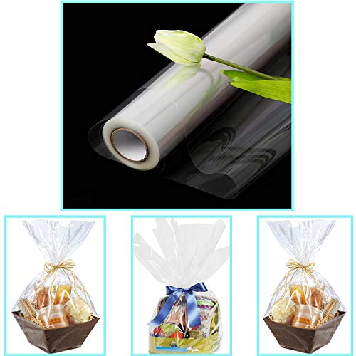 JCHB 16in x 100 Ft 2.3 Mil Crystal Clear Cellophane Wrap Roll, Gift Baskets, Treats, Presents Wrapping