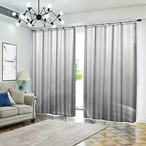 - Grey Decor Collection Custom curtain Digital Effect Gradient Light Metallic Wavy Color Abstract Theme Futuristic Style Shabby Home Insulated with Grommet Curtains for Bedroom 72