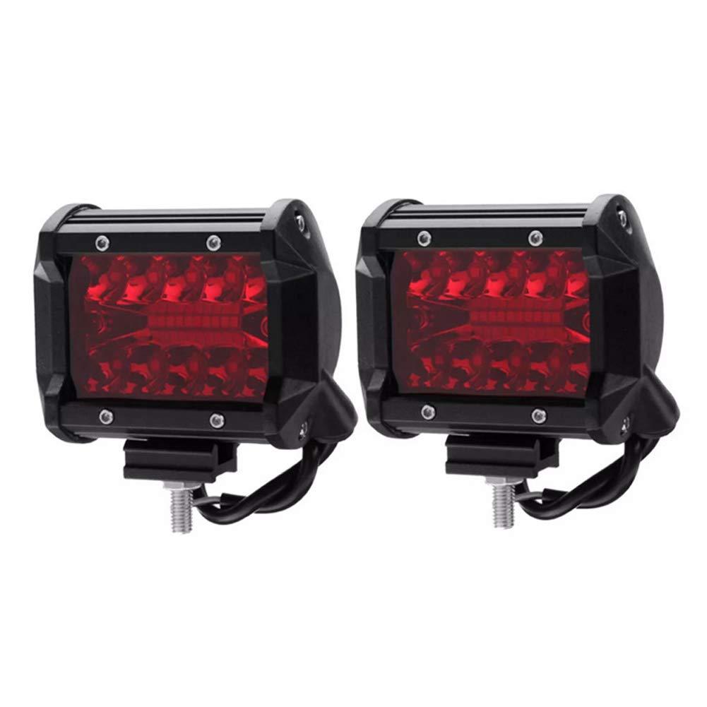 HEHEMM Car Led Red Spot Lights, Rear Lamp Offroad Driving Fog Lights 60W Combo Led Pods 1800 Lumen Bumper Work Light Bar for Trailer Truck ATV Car Pickup Tractor SUV Jeep 2 PCS