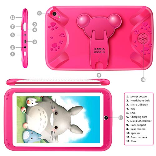 Kids Tablet 7 inch Android 10.0 - Kids Edition Tablets with case - Quad Core - RAM 1GB | 16GB ROM - JUSYEA J3-3000mAh Battery | WiFi | Bluetooth, Entertainment | Education (Red)