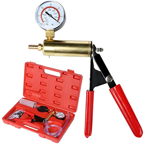 Price comparison product image Dtemple 2 In 1 Hand Held Vacuum Pump and Brake Bleeder Tool Kit for Automotive with Gauge 0-760mmHg Adapters Case