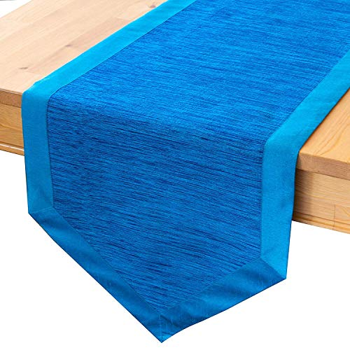 - The White Petals Blue Dining Table Runners (14x90 inch, Pack of 1) V-End Border | Fabric Lined | Properly Finished, No Fray Edges | for Home, Kitchen, Dining Room, Holiday, Wedding Party Décor
