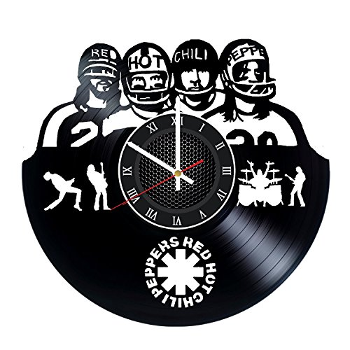 Clock Hot Gift Wall (Red Hot Chili Peppers Vinyl Record Wall Clock - Get unique Garage wall decor RHCP Gift ideas for friends, teens – ROCK MUSIC Unique Modern Art gift for boys gift for girls gift for dad prime gifts)