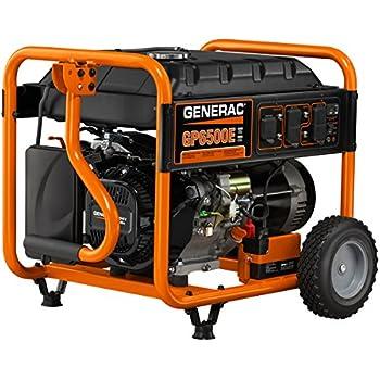 amazon com generac 5945 5500 running watts 6875 starting watts generac 5941 gp6500e 6 500 watt 389cc ohv portable gas powered generator electric start