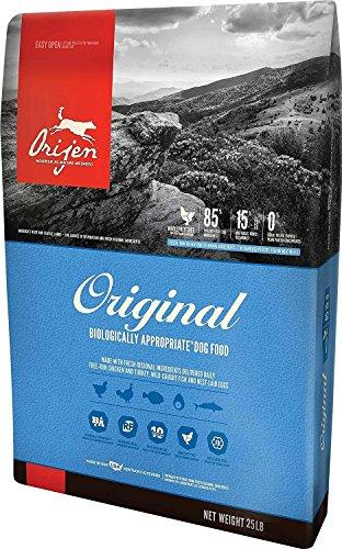 Orijen 25 LB Dry Dog Food, Original Formula. 25 lb. Bag. (Fresh Free-Run Chicken and Turkey, Wild-Caught Fish and NEST-Laid Eggs.) Grain Free Original Dry Dog Food