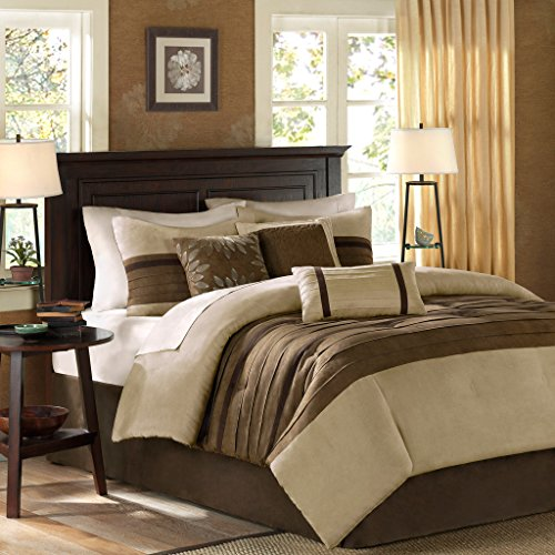 Madison Park - Palmer 7 Piece Comforter Set - Natural - Queen - Pieced Microsuede - Includes 1 Comforter, 3 Decorative Pillows, 1 Bed Skirt, 2 Shams (Brown Bed Set Comforter)