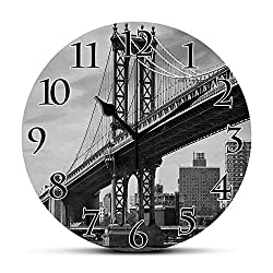 BCWAYGOD Silent Wall Clock,New York,Bridge of NYC Vintage East Hudson River Image USA Travel Top Place City Photo Art Print,Grey Non Ticking Wall Clock/Desk Clock for Office Home Decor 9.5 inch