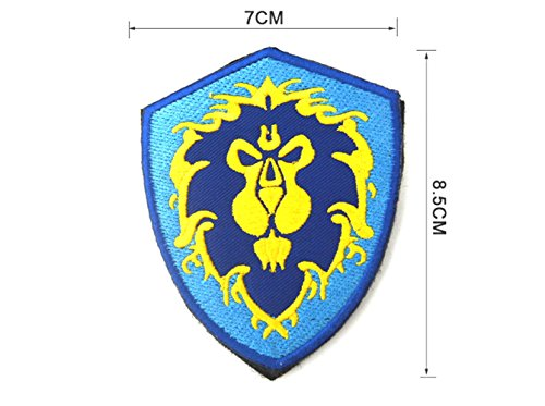 """J&C Family Owned World of Warcraft Alliance 2.75"""" X 3.34"""" Velcro Tactical Gear 3D Embroiderery Applique Badge Patch/Applique"""