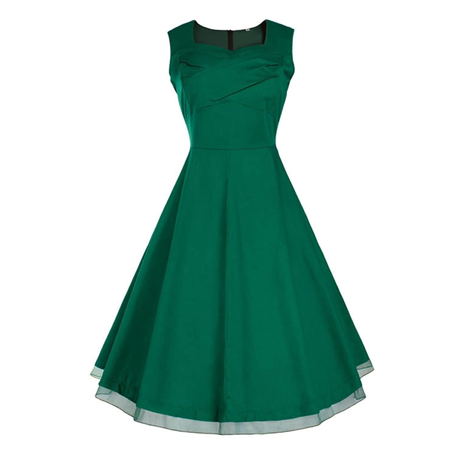 Frau Retro-Taille Dünnes Sleeveless Kleid,DarkGreen-L