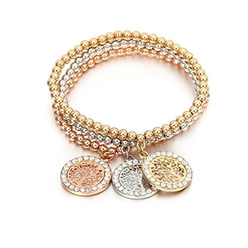Ablaze Jin multi-layer bracelet life tree bracelet tri-color set of elastic bracelet jewelry,S67-SL05522-MX