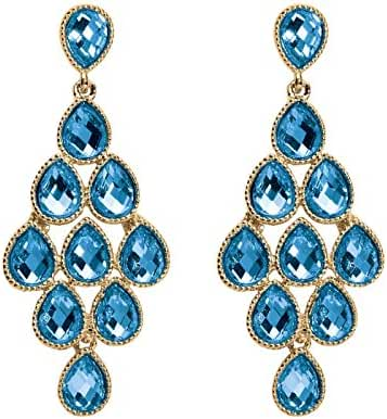 Simulated Birthstone Yellow Gold Tone Chandelier Earrings - March - Simulated Aquamarine