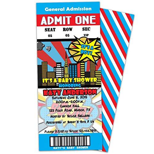 Blue Comic Superhero Baby Shower Invitation It's A Boy Retro Ticket ()