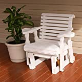 Amish Heavy Duty 600 Lb Roll Back Pressure Treated Glider Chair With Cupholders (Semi-Solid White Stain)