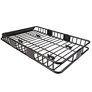 "64"" Universal Black Roof Rack Cargo with Extension Car Top Luggage Holder Carrier Basket Travel SUV"