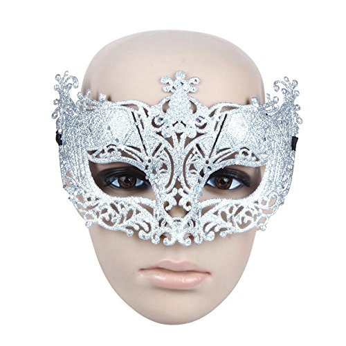 Generic Fancy Venetian Masquerade Women Mask Costume Party Face Mask Silver Ideal for a Masquerade Carnival Party, Ball, Costume Play, Cosplay, Prom, Wedding, Halloween Party (Quiet Cosplay Costume)
