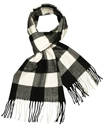 Classy Buffalo Plaids Viscose Silky Cashmere-Feel Long Scarf - Black and White