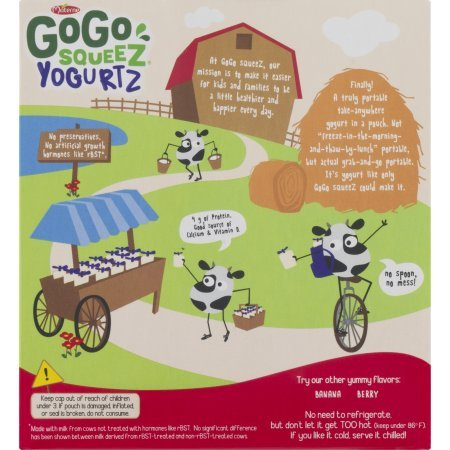 PACK OF 12 - GoGo Squeez Yogurtz Low Fat Strawberry Yogurt, 4 - 3 oz pouches by GoGo SqueeZ (Image #4)