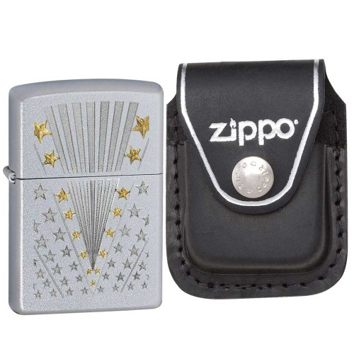Zippo 28277 Classic Satin Chrome Flag Pattern Windproof Pocket Lighter with Zippo Black Leather Clip Pouch