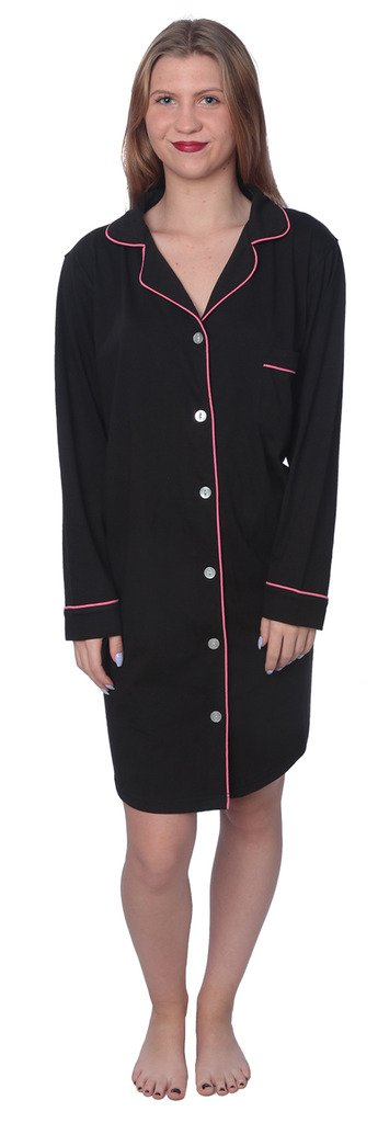 Beverly Rock Women's Soft Jersey Knit Cotton Blend Button Down Sleepshirt Pajama Top with Piping Finish Y18_WPJ01 Black 1X by Beverly Rock (Image #3)
