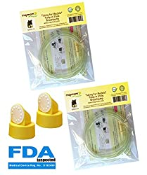 Medela Replacement Tubing (Two Packs, 4 Tubes), 2 Valves and 2 Membranes for Medela Pump in Style Advanced Breast Pump Released After Jul 2006. Retail Pack. Made by Maymom.