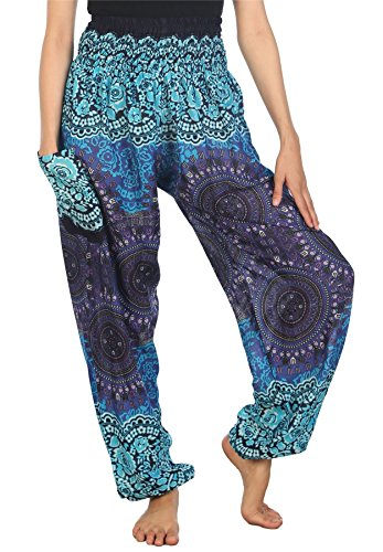 Lofbaz Women's Rose Flower 2 Smocked Waist Harem Pants