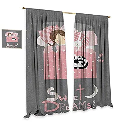 homefeel Sweet Dreams Window Curtain Drape Girl Sleeping with a Bunny and a Cat Cartoon Style Night Time Themed Image Drapes for Living Room Multicolor