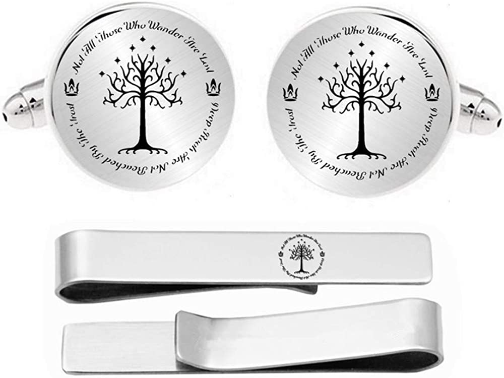 Kooer White Tree Cuff Links Personalized Tree of Life Cufflinks Tie Clip Set Not All Those Who Wander are Lost