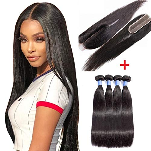 2X6 Mini Top Lace Closure With Bundles 8A Grade Virgin Remy Hair With Cuticle Aligned (20 22 24 24+20 closure, natural black)