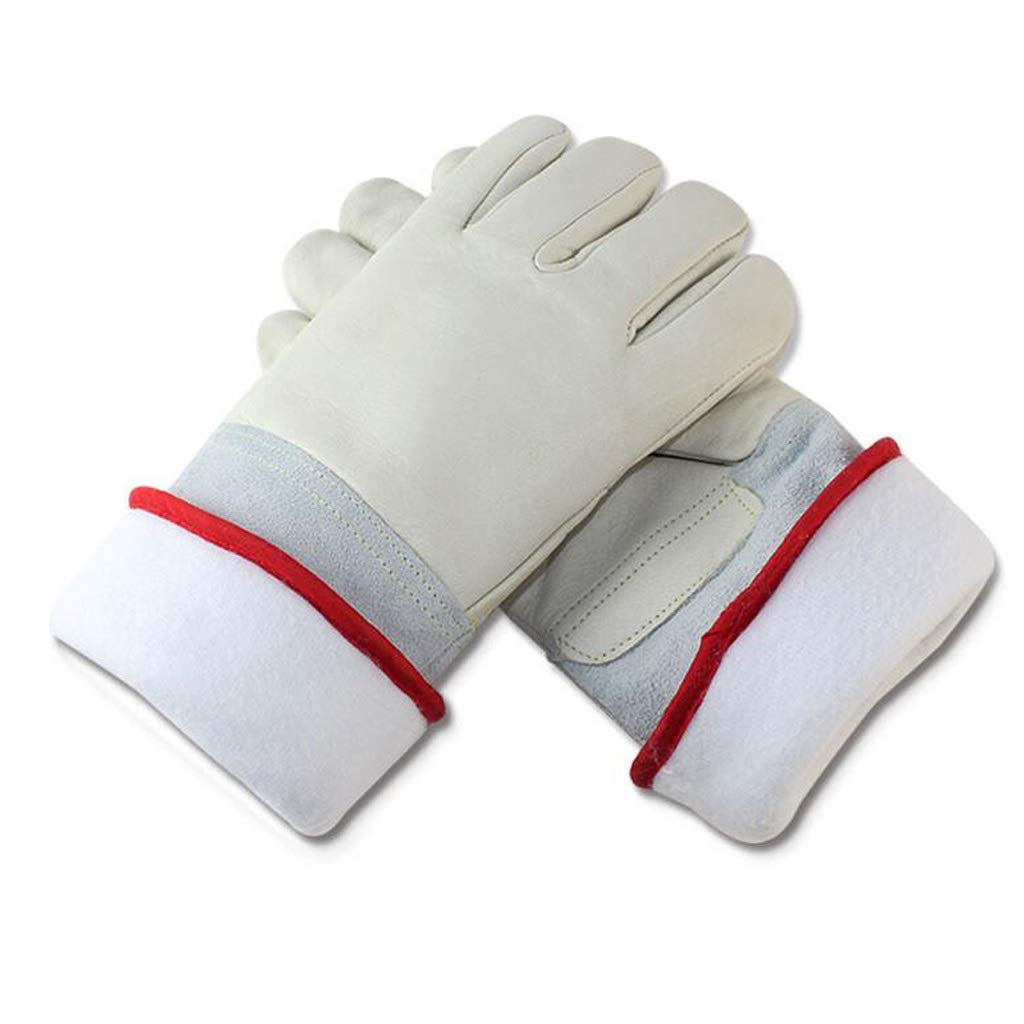 LDKFJH Leather Gardening Gloves Outdoor Wear-Resisting Puncture-Proof Working Gloves for Yard Work, Gardening, Farm, Welders Gloves(40/6264cm,White) (Color : White, Size : L)