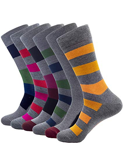 1Sock2Sock Men's Bamboo Thin Crew Socks - Super Soft & Breathable Colorful Patterns Dress Socks