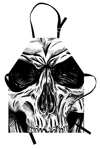 Ambesonne Halloween Apron, Gothic Dead Skull Face Close Up Sketch Evil Anatomy Skeleton Artsy Illustration, Unisex Kitchen Bib Apron with Adjustable Neck for Cooking Baking Gardening, Black White